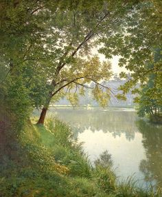 """""""Matin à Villeneuve (Villeneuve-l'Etang, le matin)"""" """"From waters edge """"(c.1905- 1906) By Henri Biva, French Artist, known for his landscape paintings and still lifes (1848-1929) oil on canvas; 153.7 x 127 cm; 60.5 x 50 in Private Collection"""