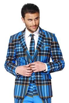 9b57db07efb The Highlander Blue Tartan Plaid Christmas Party Jacket and Tie by Opposuits
