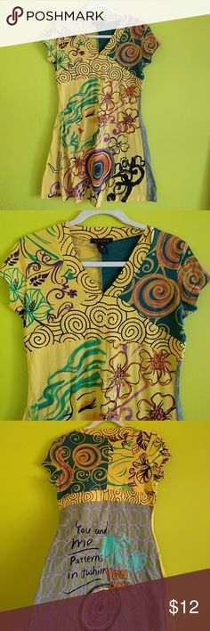 Unique Hippie Pattern Colorful Comfy Cute Dress Size Small. adore Brand. Cute design. Quilt like pattern. Stretchy and comfy. Above the knee. adore Dresses