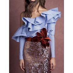 One Shoulder Ruffles Blouse Shirt Women Tops 2017 Summer Ladies Casual Blue Striped Shirt Long Sleeve Slash Neck Fashion Blusas Fashion 2017, Look Fashion, Fashion Details, New Fashion, Fashion Outfits, Womens Fashion, Fashion Design, Fashion Trends, Fashion Styles