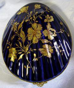 10% OFF! ECHT KOBALT porcelain cobalt blue gold floral oval footed ...