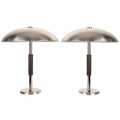 1930's, Germany, Pair of  Large Bauhaus Art Deco Table Lamps  Era Chrome Bakelite
