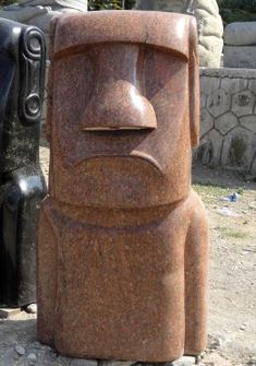 Polished Pink Granite Moai Statue 48""