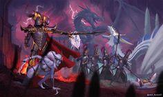 Warhammer Malekith and his Druchii , Daniel K Warhammer Dark Elves, Warhammer Art, Warhammer Fantasy, Tolkien, Witch Elves, Dark Eldar, Hipster Design, Daniel K, Old Art