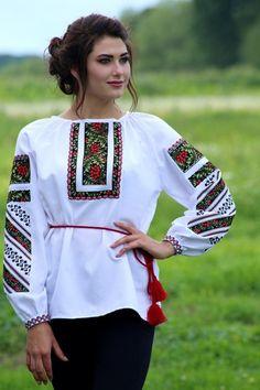 """Вишиванка, жіноча вишивана блузка """"Борщівська калина"""" (Арт. 01046) Ideias Fashion, Graphic Sweatshirt, Sweatshirts, Blouse, Long Sleeve, Sleeves, Sweaters, Clothes, Tops"""