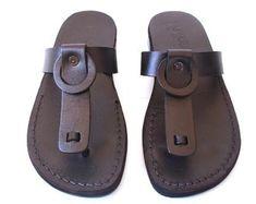 Aanbieding Nieuwe met de hand gemaakte leren sandalen Heren &