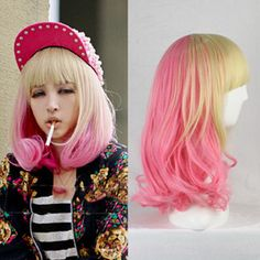 ping Synthetic Women Heat Resistant Pink Soft Golden Part Synthetic Medium Anime Cosplay Curly Hair Wig Alternative Measures