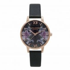 Winter Garden Mirror Floral Black and Rose Gold