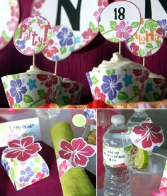 DIY Luau Party Hibiscus Pink Printables  Party by PressPrintParty, $15.00