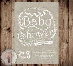 NEUTRAL Baby Shower Invitation, baby shower invite,burlap, linen, baby shower, rustic, natural