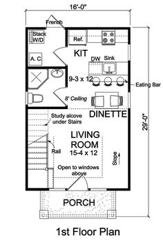 contemporary cottage saltbox house plan 68573 level one - Home Plans With Photos