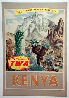 1950 TWA Kenya Poster by Jay via Nancy Steinbock Posters