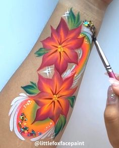 Easy flower design 😊 I ran out of my rose one stroke so had to come up with alternatives for the weekend gigs. Simple Flower Design, Flower Designs, Arm Art, Campervan Interior, One Stroke, Face Painting Designs, Face Paintings, Skin Art, Paint Ideas