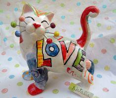 """""""Natalia"""" WhimsiClay Rainbow Cat figurine  Britto-inspired WhimsiClay Love Cat #WhimsiClay"""
