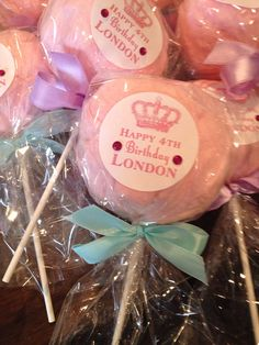 24 Cotton Candy Lollipops with custom labels by Dollyscottoncandy
