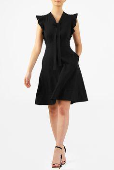 I <3 this Ruffle sleeve tie-neck cotton knit dress from eShakti