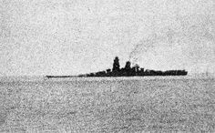 Last photo of Japanese 18.1 in super-battleship Musashi, down by the bow and sinking after being hit by around 15 bombs and 20 torpedoes during the Battle of Leyte Gulf on 24 October 1944.  She sank slowly, and about 1300 of her 2300 crew were saved.  At over 72000 tons, she and sister Yamato (sunk by similar sustained air attack in April 1945) were much the biggest battleships ever built.  Musashi was a few tons heavier.