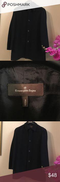 Men's Designer Casual Dress Coat👍 Casual dress coat by famed Italian designer Ermengildo Zegna. USA Men's large, European 52.  Sort of a knit black pattern. 50% lambs wool, 40% cotton, 10% silk.  Rarely worn. Excellent condition. Ermenegildo Zegna Suits & Blazers Sport Coats & Blazers