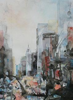 Aquarelle de New York, 5eme avenue, au fond l'Empire State building. Par Vanessa Baietto Renoux. Aquarelle et encre de chine. (watercolor)