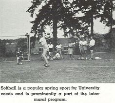 1940 UO women's softball on the intramural field next to Gerlinger Hall.  From the 1940 Oregana (University of Oregon yearbook).  www.CampusAttic.com
