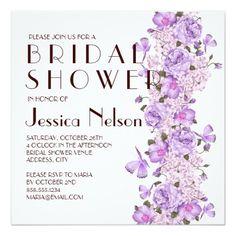 Butterfly Lavender Floral Garden Bridal Shower Custom Invitation