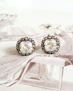 Classic Vintage Style Swarovski Crystal Button Earrings – Cupids Charm