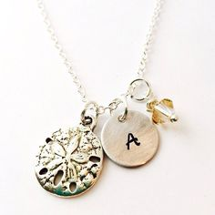 Sand Dollar Charm Necklace Initial Name by UniquelyImprint on Etsy