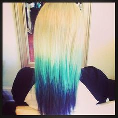 blonde to blue ombre! Love this look? Get it at Bella Beauty College! www.BellaBeautyCollege.com