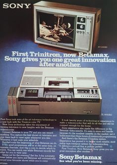 Technology Careers, Old Technology, Color Television, Vintage Television, Vintage Advertisements, Vintage Ads, Sony, Vcr Player, Vhs