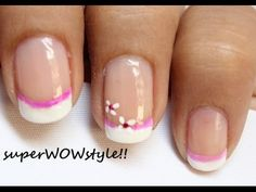Pink flower - Cute French Tip Nail Designs - Easy French manicure Nail Art