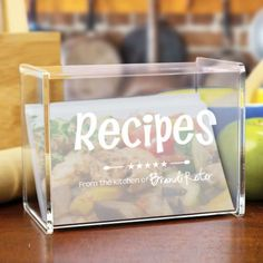 Personalized Engraved Kitchen Recipe Acrylic Recipe Box - Gifts Happen Here