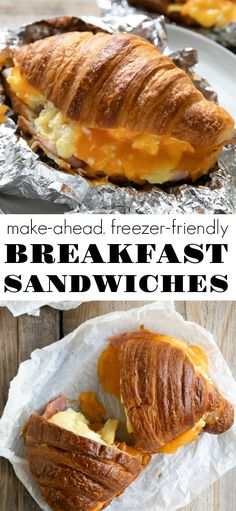 The BEST Breakfast Sandwich Recipe! Made with egg cheese and ham piled between a soft butter croissant these warm and delicious breakfast sandwiches are freezer-friendly and perfect for a quick and easy breakfast lunch or dinner. Croissant Breakfast Sandwich, Butter Croissant, Breakfast Sandwich Recipes, Quick And Easy Breakfast, Best Breakfast, Mexican Breakfast, Breakfast Pizza, Breakfast Bowls, Quiche