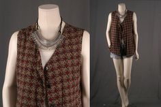 Jacket Vest sleeveless top button front waistcoat by sparrowlyn, $38.00