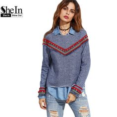 SheIn Vintage Pullovers For Ladies Autumn Blue Round Neck Long Sleeve Denim Look Sweatshirt With Embroidered Tape Detail