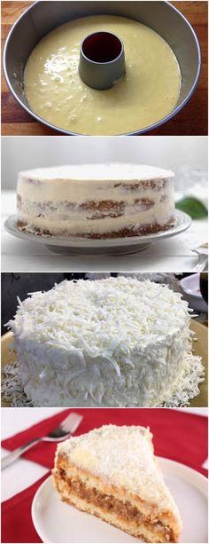 Bolo de coco nevado,AMO ESSE BOLO!! VEJA AQUI>>>Em uma panela, juntar o leite de coco, o creme de leite fresco, o açúcar, o sal, a manteiga, o amido de milho e os ovos. Levar ao fogo até levantar fervura. #receita#bolo#torta#doce#sobremesa#aniversario#pudim#mousse#pave#Cheesecake#chocolate#confeitaria