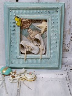 Vintage baby boy nursery room decor shoes framed wall art recycled blue and cream anita spero. $40.00, via Etsy.