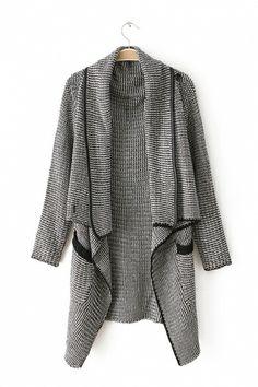 leather trim asymmetric knitting sweater // 6ks