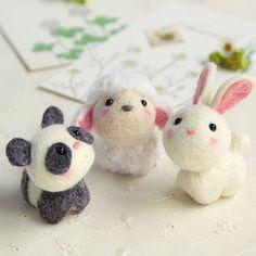 DIY handmade Wool Felt kit Little Panda, Sheep, Rabbit - Japanese kit package H441-481