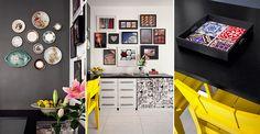 Tonalidades fortes, arranjos e coleções pelas paredes, peças customizadas e outros elementos marcantes imprimem o jeito da moradora na decoração deste apartamento curitibano de 86 m²