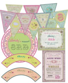 Tea Party Garden Girl Vintage Birthday Large Party Pack Set  Package - Digital Printable card cards. $40.00, via Etsy.