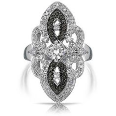 Great Gatsby Inspired Black White Vintage Style CZ Armor Ring ($33) ❤ liked on Polyvore featuring jewelry, rings, black, theme jewelry, vintage rings, cubic zirconia solitaire ring, pave ring, cubic zirconia rings and oval cz ring