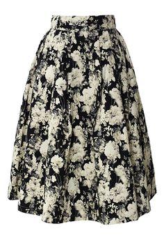 Retro Floral Print Midi Skirt - SO PRETTYYYYYYYYYYfshdfBSDJFBDSJKHFGDSVJHXCVNC,VXVXCVCXVX