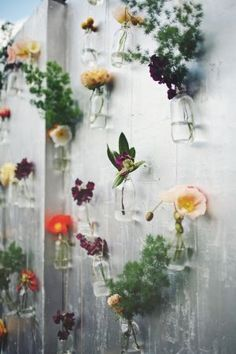 wall of hanging flowers for a gorgeous backdrop or display // photo by http://SergioMottola.com // styled by Georgeous.com.au