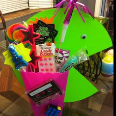 80's party centerpiece...Augh!! You can totally make a PAC Man out of poster board! Genius!!
