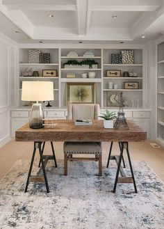 Home office coffered ceiling with soffits. All white ceiling and walls with white trim and wall paneling. Wood desk with metal black legs. Built ins and window seat. Cozy Home Office, Home Office Decor, At Home Office Ideas, Home Office Lighting, Office Inspo, Home Decor, Office Interior Design, Office Interiors, Office Cabinet Design