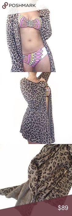 "• Leopard Silk & Cashmere Cardigan • Lightweight silk and cashmere cardigan in a super trendy leopard print. Unsure of brand.           30"" long. Sweaters Cardigans"