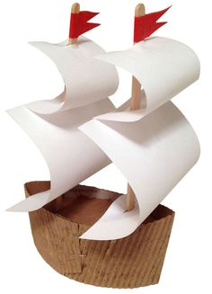 Mayflower ship using Starbucks coffee sleeve. #Thanksgiving #upcycle Artprojectsforkids.org