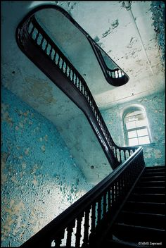Staircase in the abandoned admin building - Hudson State River Psychiatric Hospital. Love the effect of the pale blue peeling paint. Would be interesting to recreate the effect intentionally, but to a lesser degree.