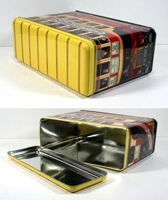 Vintage Large British Bus Tin - London Double-Decker Red and Yellow Bus…