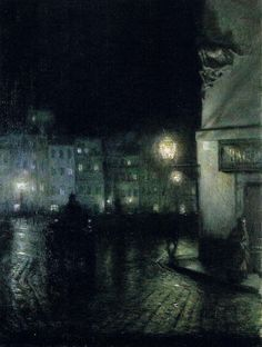 Józef Pankiewicz - The Old Town in Warsaw at Night